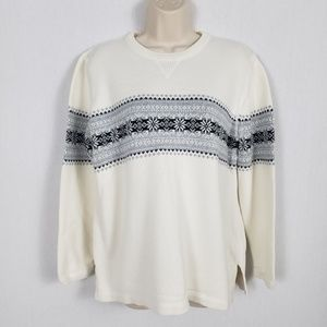 Eddie Bauer Sweater Size Large Fair Isle Cotton